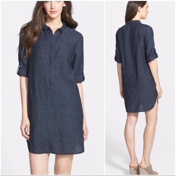 bac2cdad51f6 Eileen Fisher Dresses | Classic Collar Linen Dress | Poshmark